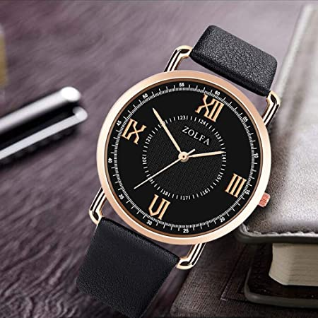 Amazon.com : XBKPLO Quartz Watches Mens Fashion Minimalist Thin Sport Analog Wrist Watch Rose Gold Case Leather Strap Business Watch Jewelry Gift : Pet ...