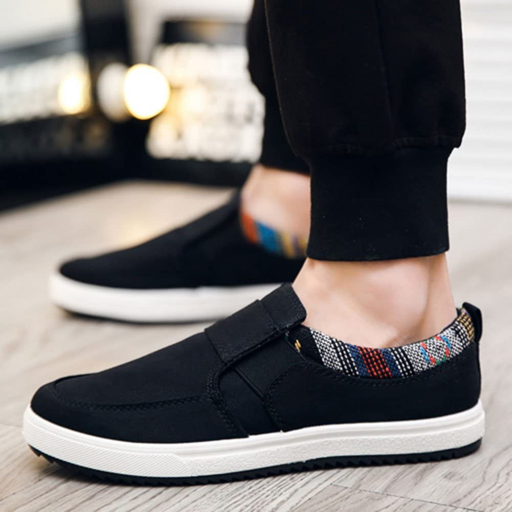 Wealsex Men Folk Canvas Slip On Loafers Casual Outdoor Moccasins Boat Deck Driving Walking Shoes Size 2.5-9