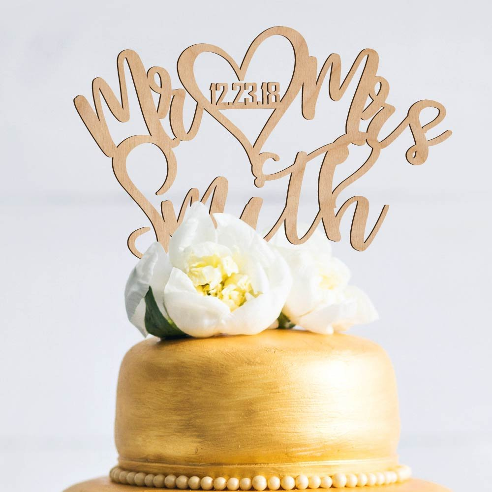 Amazing Items Personalized Wedding Cake Topper Customized Mr. and Mrs. Last Name and Date 4 Color Type and 23 Colors Design 12 (Wood Colors) by Amazing Items (Image #2)