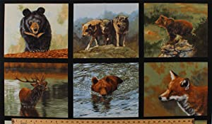"23"" X 44"" Panel Wildlife Animals Wolf Wolves Bears Black Bear Grizzly Moose Fox Squares Northwoods Woodland Nature Studies 3 Cotton Fabric Panel (ADV-16301-268NATURE)"