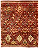 Stone & Beam Traditional Detailed Diamond Rug, 8' x 10', Rust