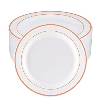 WDF 60pcs Disposable Plastic Plates-10.25inch Dinner Plates-Rose Gold Trim Real