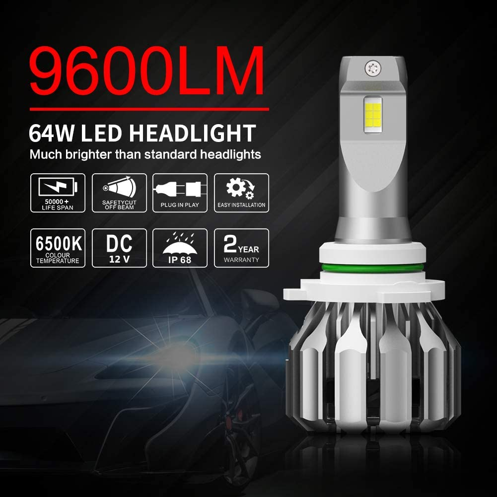 Wattstar H4 LED Headlight Bulb 9600LM All-in-One Conversion Kit 360 Degree Adjustable Beam Super Bright CSP Chips 6500K White