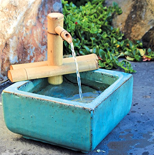 Bamboo Accents Zen Garden Water Fountain Spout, Fountain Kit includes Submersible Pump for Easy Install, Handmade Indoor/Outdoor Natural Split-Resistant Bamboo (7 Inch Adjustable Half Round)
