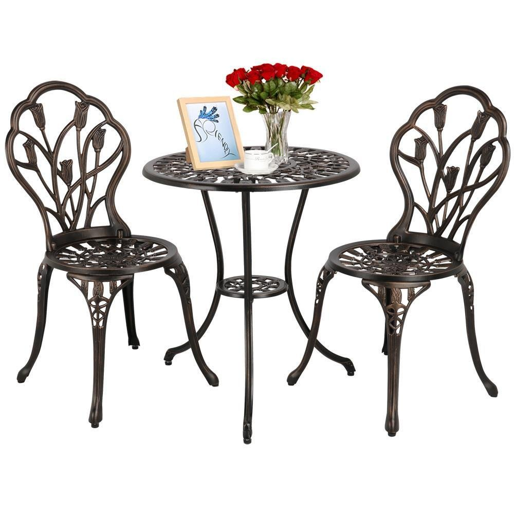 Yaheetech 3 PCS Patio Set Tulip Design Setting Cast Bistro Table Chair Outdoor Patio Furniture, Aluminum, Antique Bronze