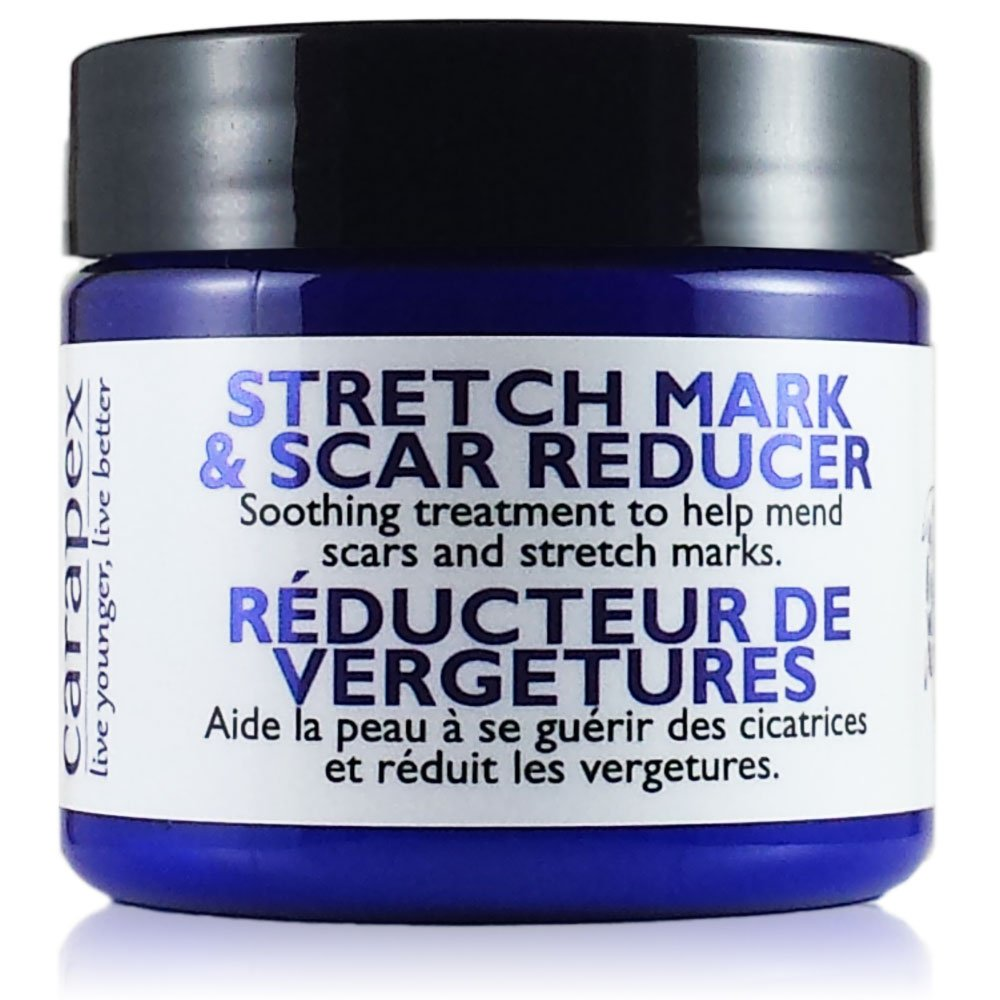 Carapex Stretch Mark & Scar Reducer Cream - 98% Natural, for Pregnancy Marks, Weight Loss Marks, Tightening, Firming, Unscented with Shea Butter, 4oz