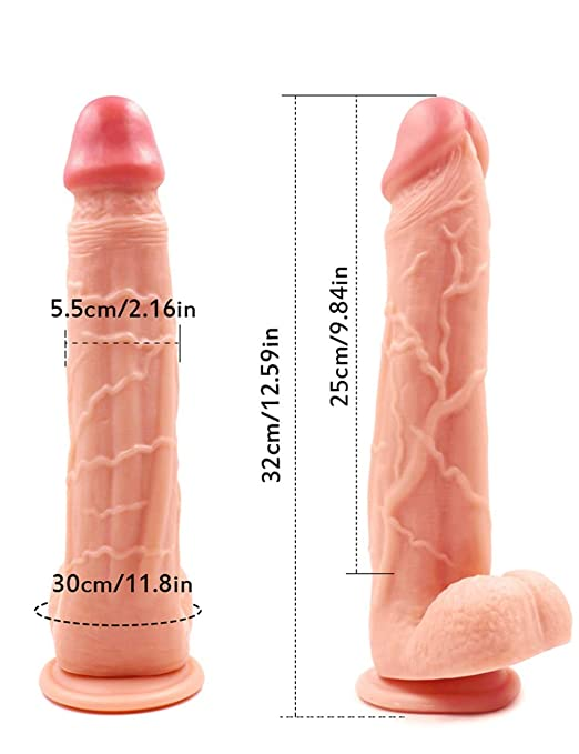 12.99 Inch Large Dildos Raised Bendable Smooth Massager for Women