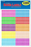 Pack of 3300 1/4' Round Color Coding Circle Dot Labels, 10 Bright Neon Colors, 8 1/2' x 11' Sheet, 0.25 in.