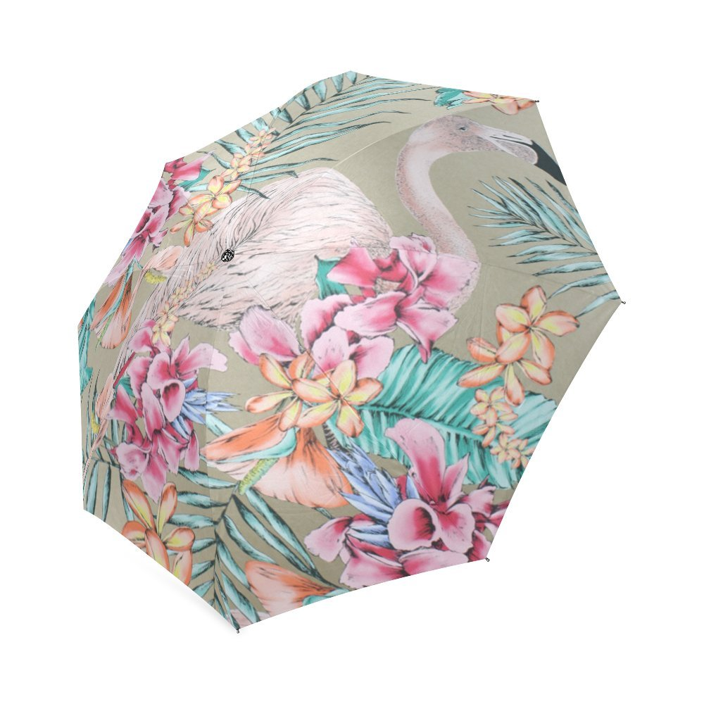 Beaituful Pink Flamingos Compact Foldable Rainproof Windproof Travel Umbrella