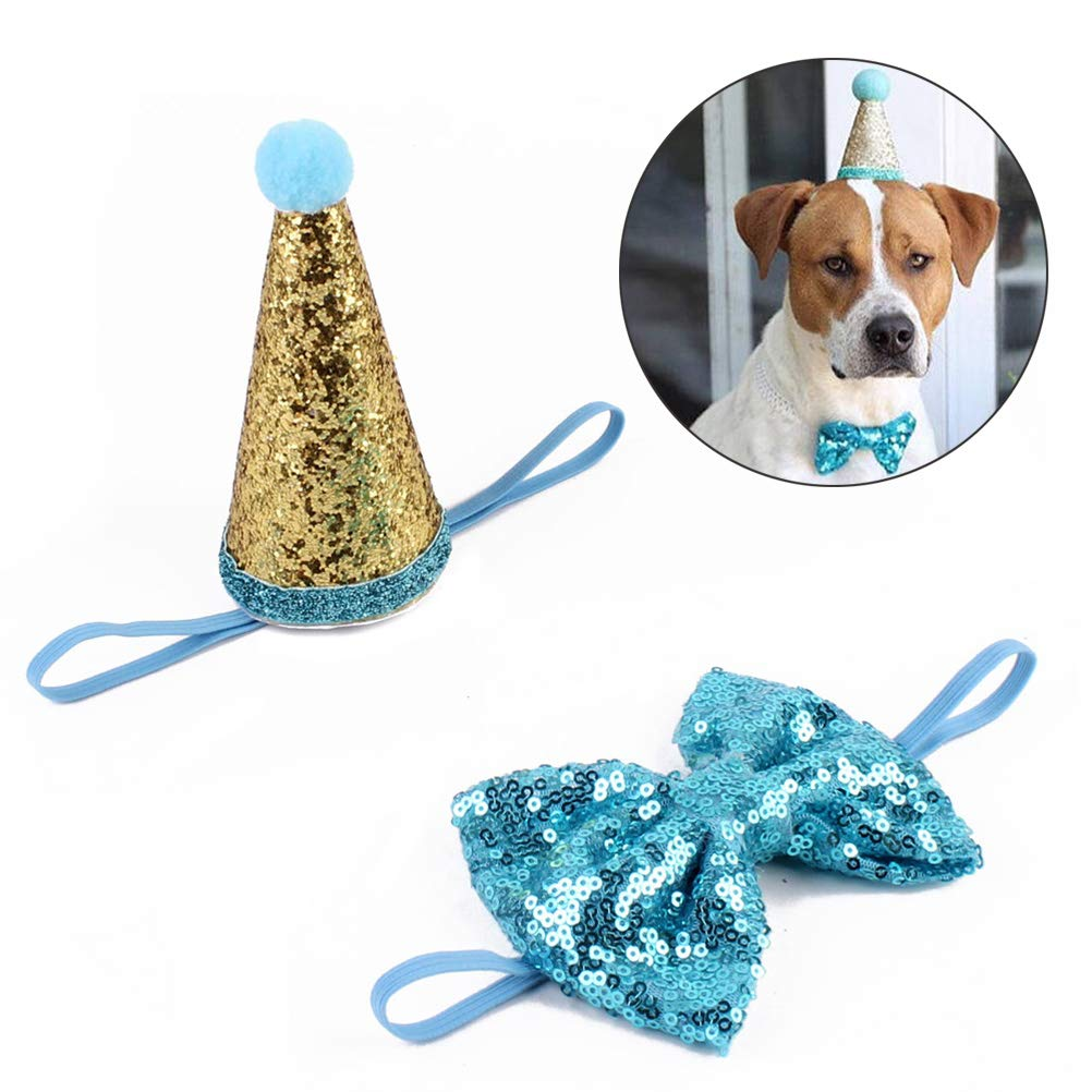 Amazon UKCOCO Pet Dog Cat Birthday Party Cone Hat With Bowknot Cosplay Costume Accessory Headwear Hair Accessories Blue Supplies