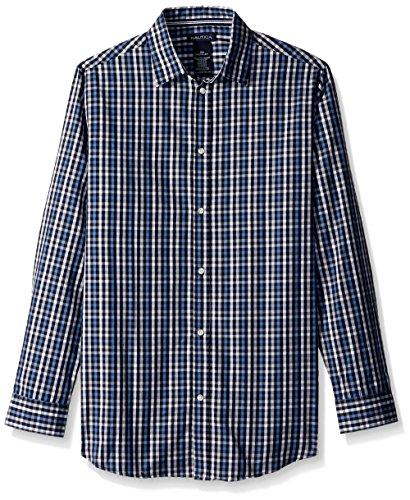 Nautica Big Boys' Long Sleeve Plaid Woven Shirt, Navy Plaid, 10 by Nautica