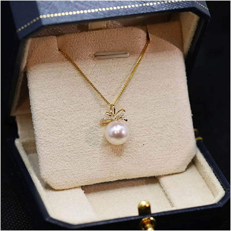 Prima 8-8.5Mm Agua De Mar Blanco Akoya Perla Colgante Collar Oro De 18 Quilates Regalos De Joyas para Mujeres Esposa Mamá Hija