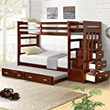 Harper&Bright Designs Trundle Bunk Bed with Storage Drawers Twin Size (Walnut)