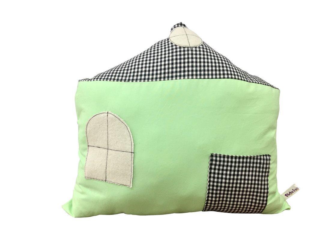 Pintucloo Handmade Decorative House Shape Pillow Soft Toy Perfect Standard Pista Green