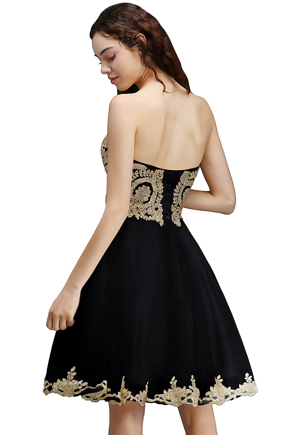 57e70964ba MisShow Gold Rhinestones Lace Homecoming Dresses Short Evening Cocktail  Gowns at Amazon Women s Clothing store