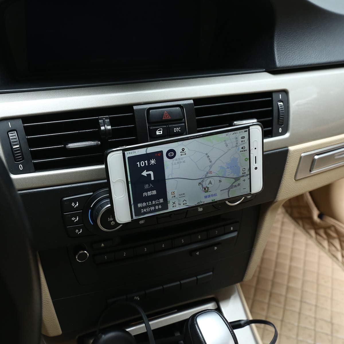 CHEYA Aluminum Alloy Car Center Console Air Vent Mobile Phone Holder for BMW 3 Series E90 E92 2005-2012 Car Accessories Black