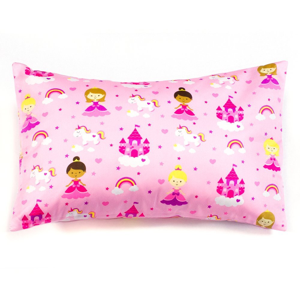 2 Pink Princess Toddler Pillowcases, 100% Cotton, Fits 13x18 and 14x19 Toddler and Travel Pillows, Envelope Style Closure, Set Of 2