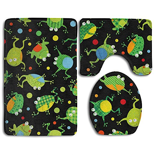 Home Essential Bath Mat Bathroom Non-Slip Pedestal Rug + Lid Toilet Cover + Bath Mat Set Frogs World Party Supplies Give Your Family The Best - World Eyeglass American