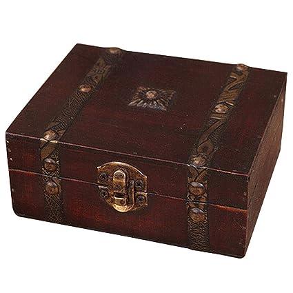 Amazoncom Jars Boxes Wooden Vintage Lock Treasure Chest Jewelery