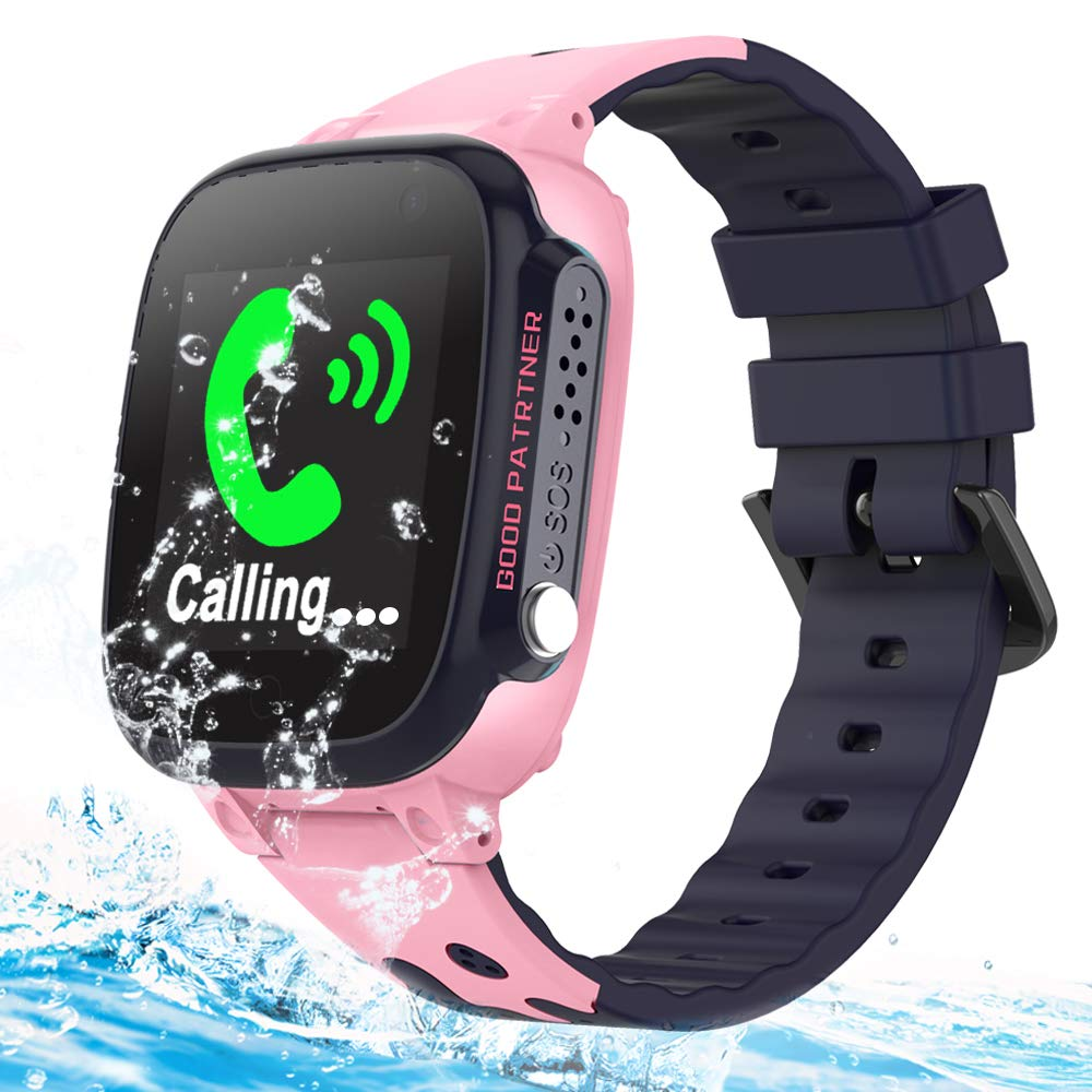 Kids Smart Phone Watches GPS Tracker IP67 Waterproof for Boys Girls with Touch Screen SOS 2 Way Call Camera Alarm Clock Math Game Watch Wristwatch iOS Android Birthday Gifts (Pink+Waterproof)