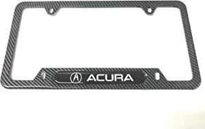 Mesport Carbon Fiber Style Stainless Steel Rust Free License Plate Cover Frames Holder with Screw Caps for Acura (1 Carbon Fiber)