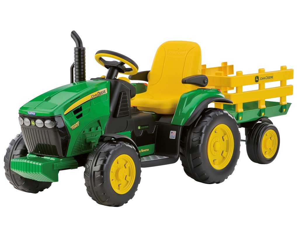 Kindertraktor mit Motor - Peg Perego John Deere Ground Force inkl. Anhänger 12V
