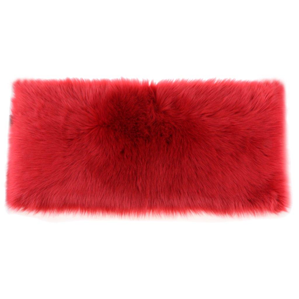 Baoblaze Faux Sheepskin Rug (60x90 cm) Soft Shaggy Area Rugs For Bedroom Sofa Floor - Red