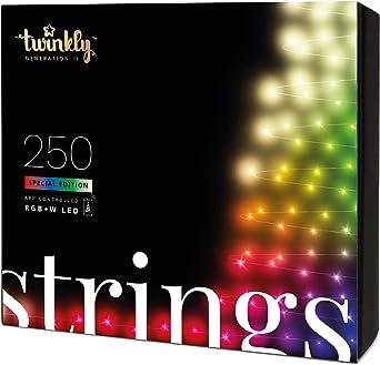 Twinkly Guirnalda de Luces Controlada Desde App con 250 LEDs RGB Multicolores+LEDs Blancos, 20 Metros, Cable Negro - Edición Especial - Uso Interior/Exterior - Generación II: Amazon.es: Iluminación