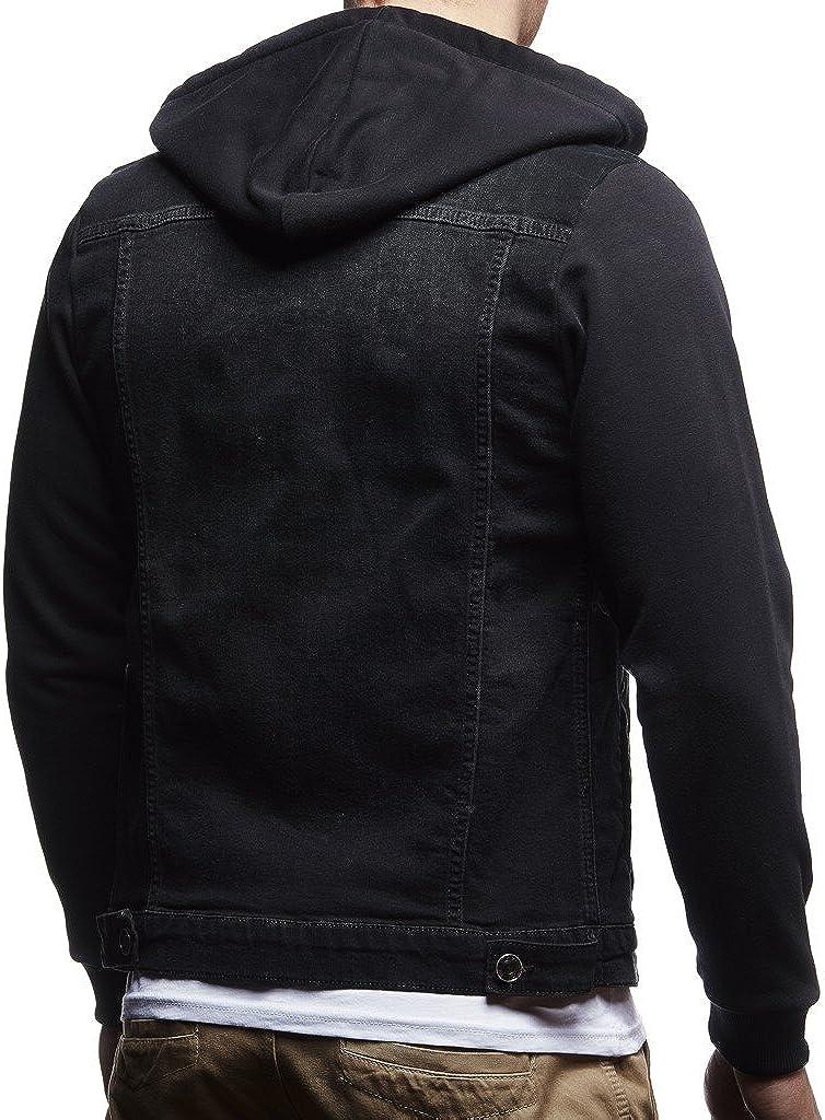 Leif Nelson Mens Denim Jacket Hoodie LN-5615