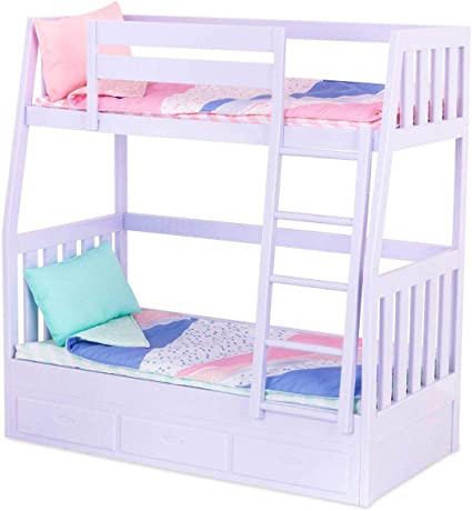 Amazon Com Our Generation Bunk Beds For 18 Dolls Lilac Purple Dream Bunks Toys Games