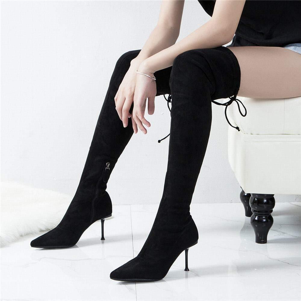 Olprkgdg Sexy Sexy Sexy elastische Overknee-Stiefel für Damen (Farbe   schwarz Größe   38) 3e30b9
