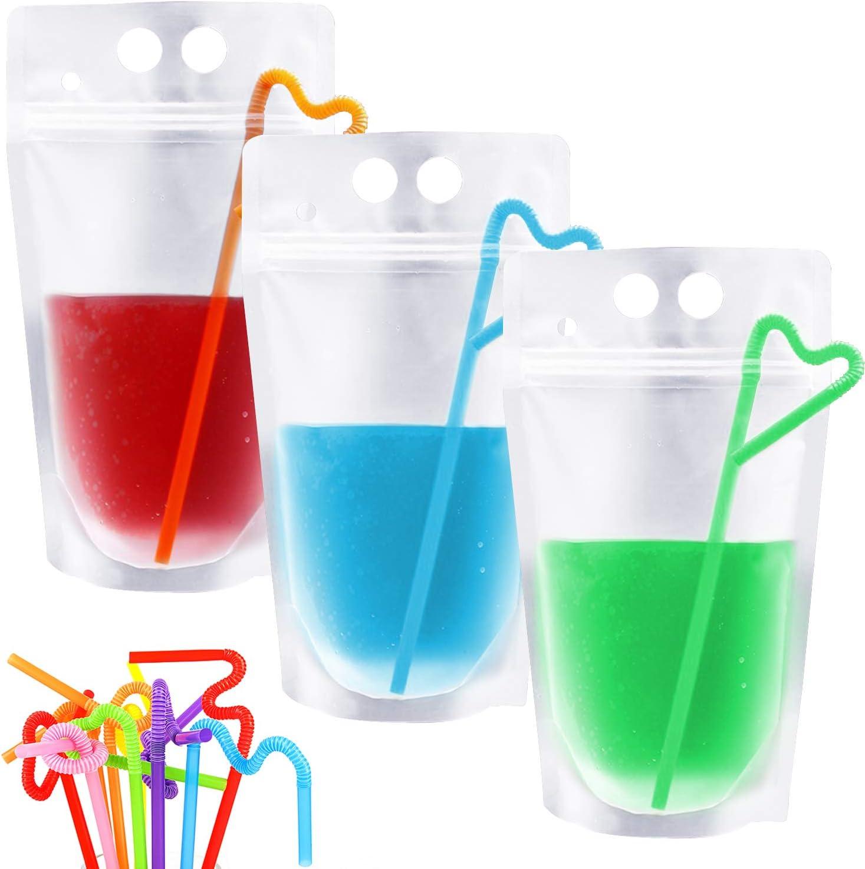 Lainrrew 50 Pcs Drink Pouches with 50 Pcs Disposable Straws, Freezable Juice Pouches Bags Reclosable Zipper Plastic Smoothie Bags for Cold & Hot Drinks