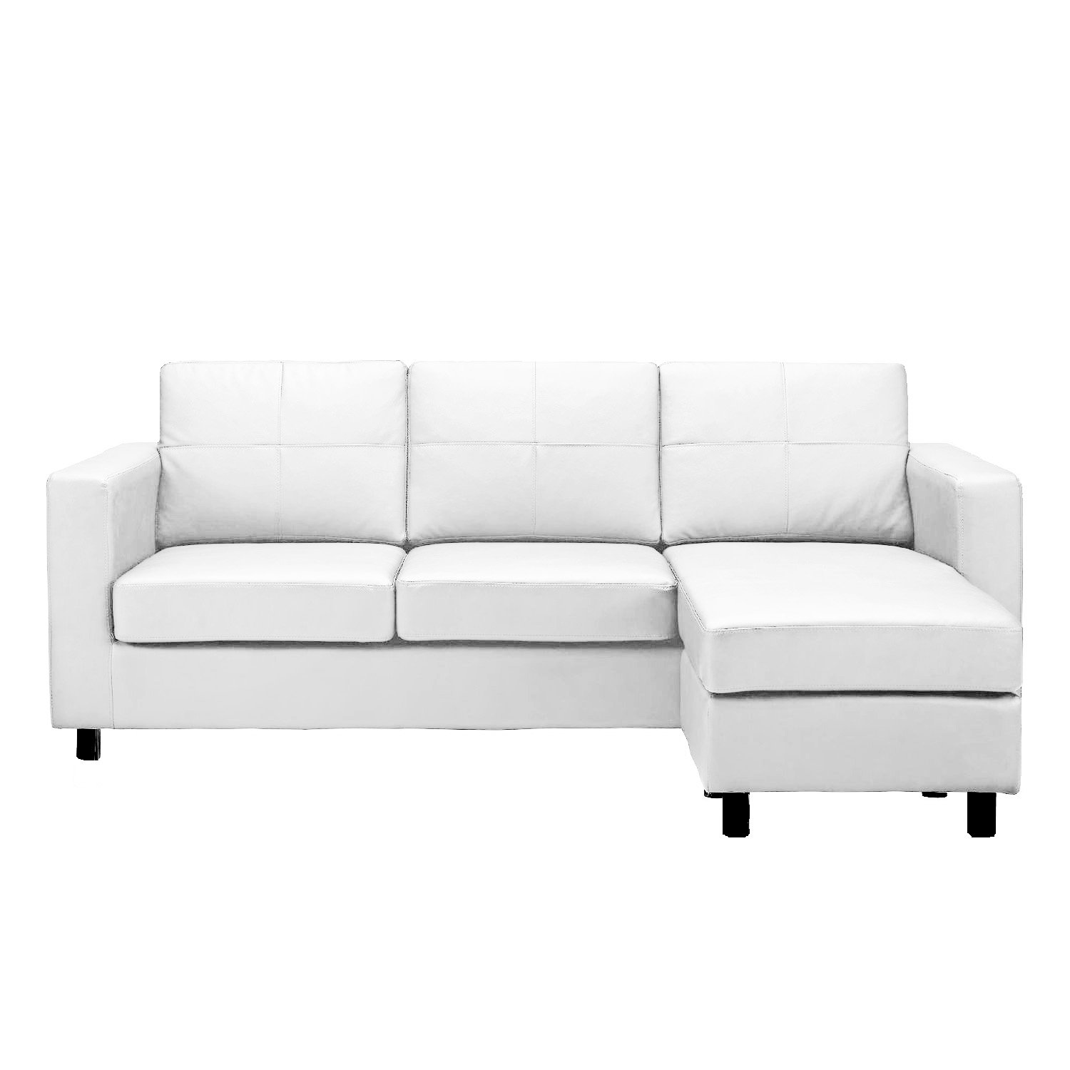 Living Room Small White Couch amazon com modern bonded leather sectional sofa small space configurable couch colors black white kitchen dining
