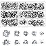 BOAO 120 Pieces M3 M4 M5 M6 M8 Carbon Steel T-Nuts Four Pronged Tee Blind Inserts Nut Assortment Kit for Wood, Rock Climbing Holds, Cabinetry, Furniture