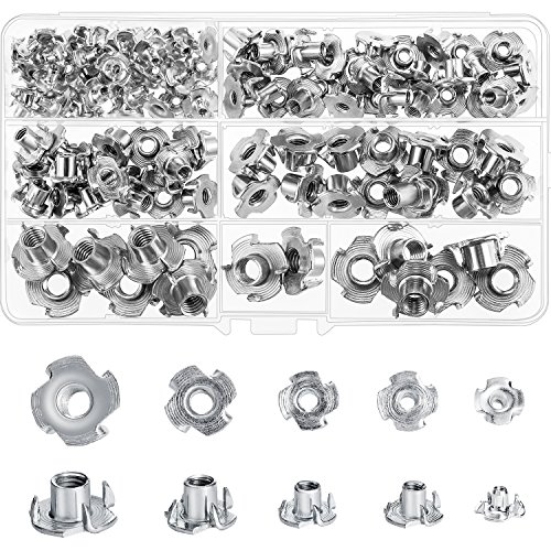 Boao 120 Pieces M3 M4 M5 M6 M8 Carbon Steel T-Nuts Four Pronged Tee Blind Inserts Nut Assortment Kit for Wood, Rock Climbing Holds, Cabinetry, Furniture by Boao