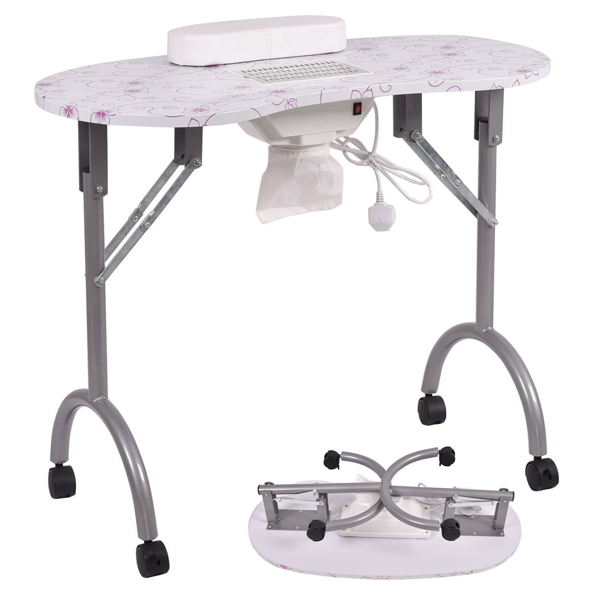 New MTN-G Folding Portable Vented Manicure Table Nail Desk Salon Spa With Fan & Carry Bag