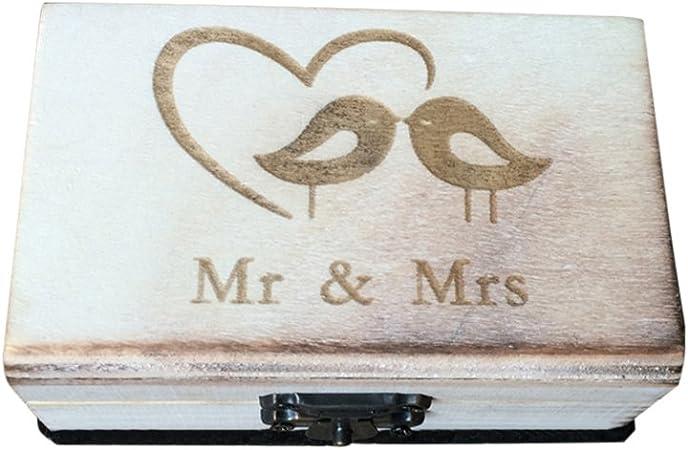 TOPBATHY Caja de Madera de Anillos de Novios Cajas de Madera para Decorar para Fiesta Ceremonia de Boda Vintage Caja de Joyería con Patron de pájaros Mr Mrs: Amazon.es: Hogar