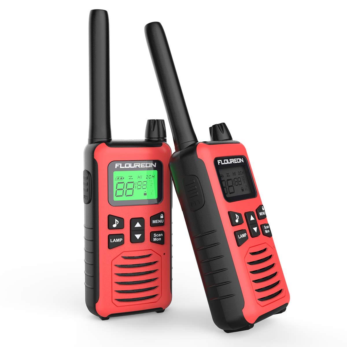 Walkie Talkies, FLOUREON 2PCS Audio bidireccional 16 Canales PMR 446MHZ con Alcance de hasta 5000 Metros/3.1Miles Interfono Portátil-Rojo