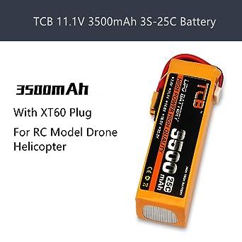 Sunnywill - Batería TCB 11,1 V 3500 mAh 3S-25C con Enchufe XT60 ...