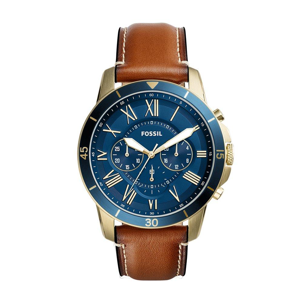 2100d597ac9f4 Amazon.com  Fossil Men s Grant Sport Quartz Stainless Steel Leather Dress  Watch Strap