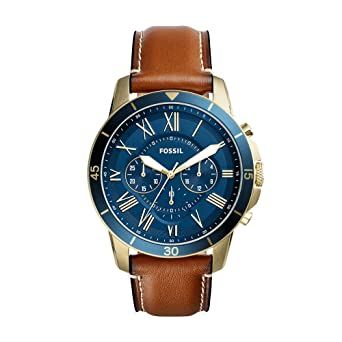 d0ef2ec7a4c38 Fossil Men s Grant Sport Quartz Stainless Steel Leather Dress Watch Strap