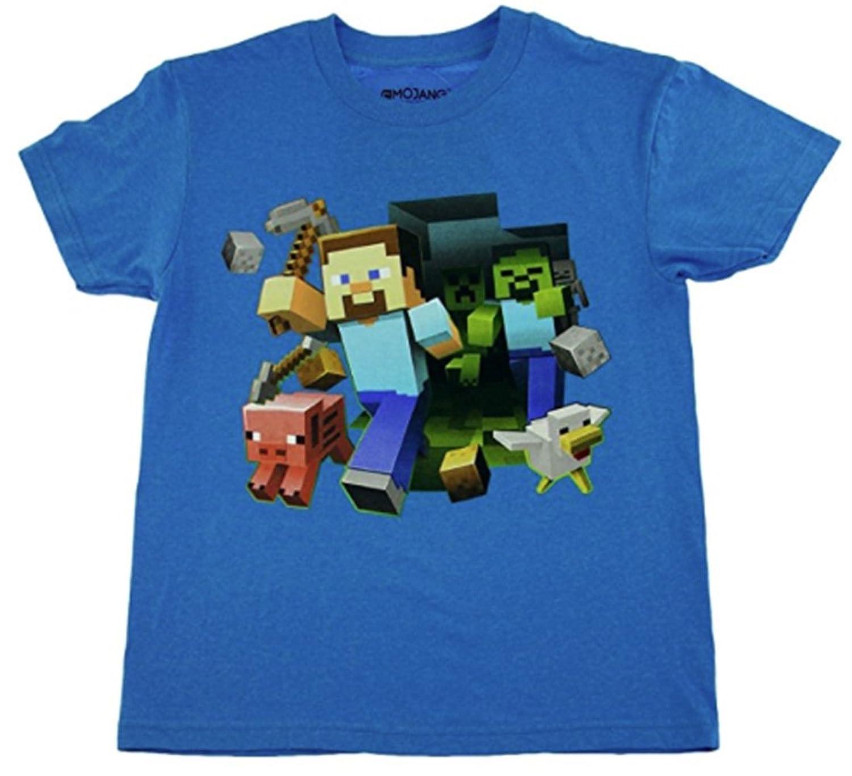 Amazon minecraft boys keep running steve t shirt clothing gamestrikefo Choice Image