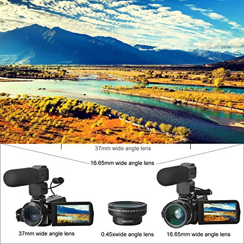 Sicanal Video Camera, Full HD 1080P 30FPS Portable Digital HDV Wifi Video Camcorder DVR with External Microphone and Wide Angle Lens (HDV-Z20)