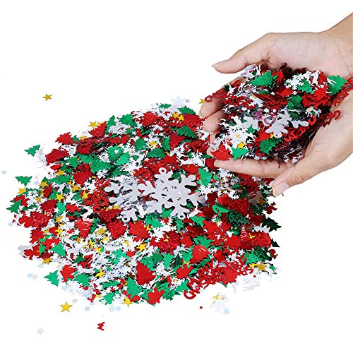 100g/4800 Pieces Christmas Confetti Pentagram, Snowflake, Santa, Pine, Merry Christmas Alphabet, Elk Table Confetti Bright Christmas Party Decoration ()