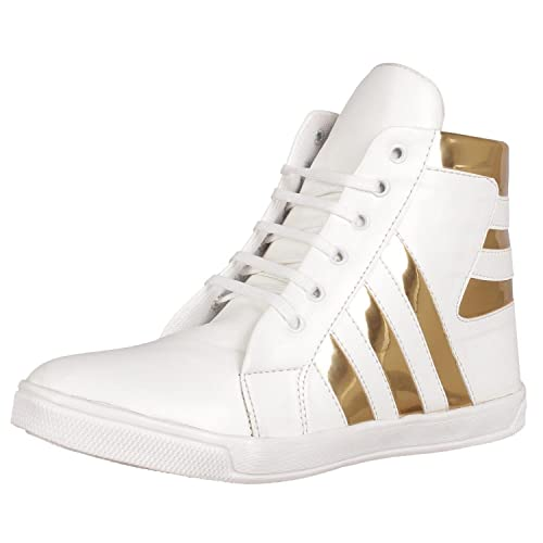 946525b1d779 Shoe Island Popular Icon-X Designer Leatherette High Ankle Length Velcro  White Shinning Gold Black Casual Dance Sneakers for Men  Buy Online at Low  Prices ...