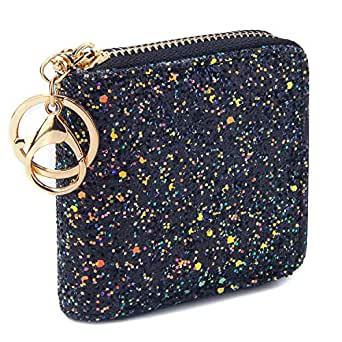 GEEAD Small Glitter Wallet for Women Girls Mini Coin Purse Pouches with Key Ring - Black - One Size