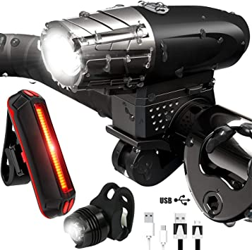 DOOK Luces Bicicleta Delantera y Trasera USB Recargable con 4 Modos Linterna Bicicleta Led Alta Potencia IP65 Impermeable Kit Luces Bicicleta para Carretera y Montaña con 300lm,Buen Regalo: Amazon.es: Deportes y aire