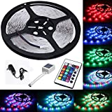 Waterproof Led Strip Lights SMD 3528 16.4 Ft (5M) Flexible Tape Lighting Tape 300leds+ 24keys IR Remote + Controller + 12V Power Supply Lighting Kit for Boats, Bathroom, Mirror, Ceiling and Outdoor