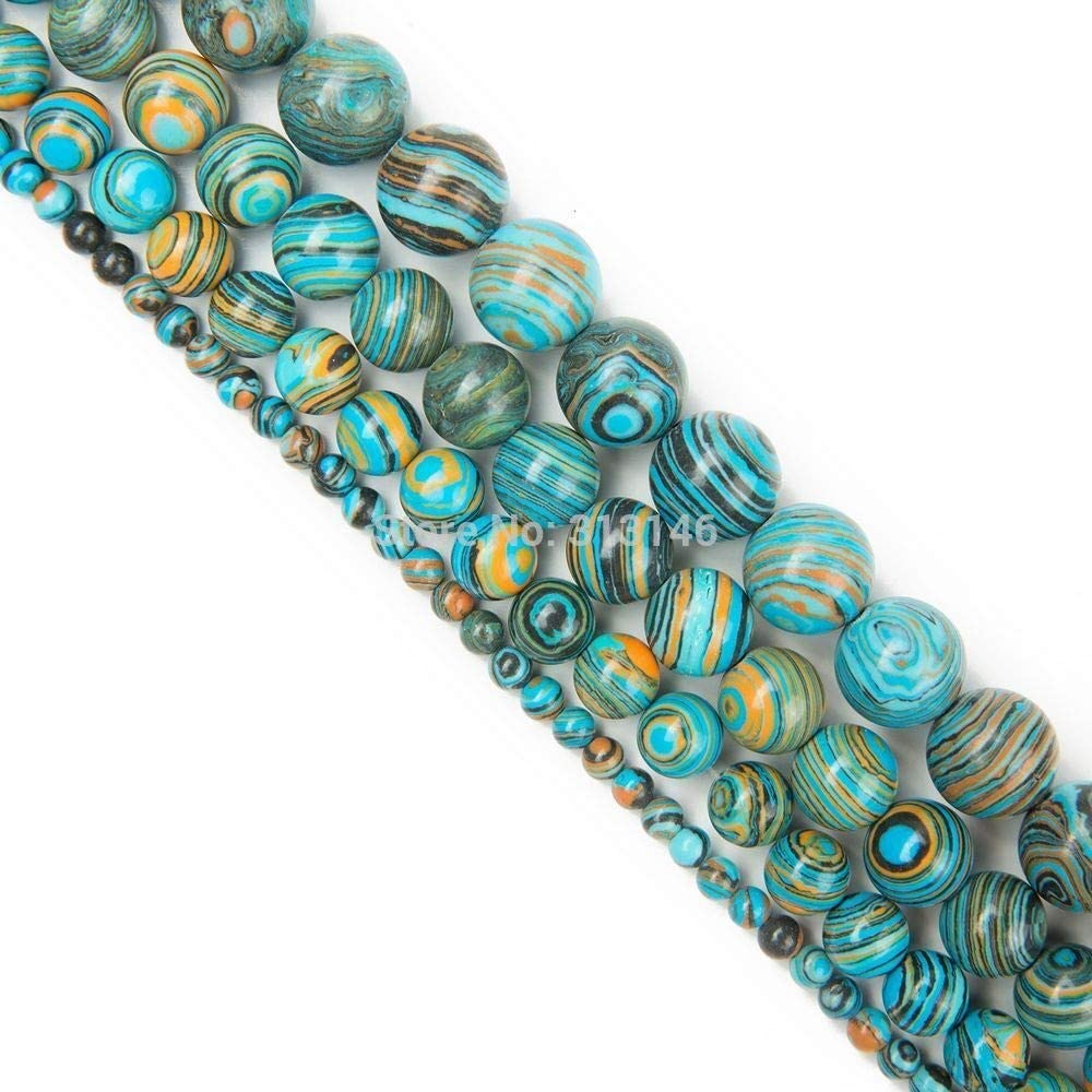 Color : Green, Size : 8mm SHENGSHIHUIZHONG Wholesale Round Peacock Malachite Lace Striped Stone Stone Strand Beads for DIY Bracelet Necklace Jewelry Making 4 6 8 10 12mm