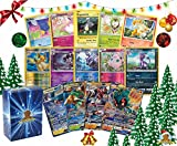 Pokemon Holiday Bundle - 100 Pokemon Cards! Foils, Coin, Figure, and GX Ultra Rare! Includes Golden Groundhog Deck Box!